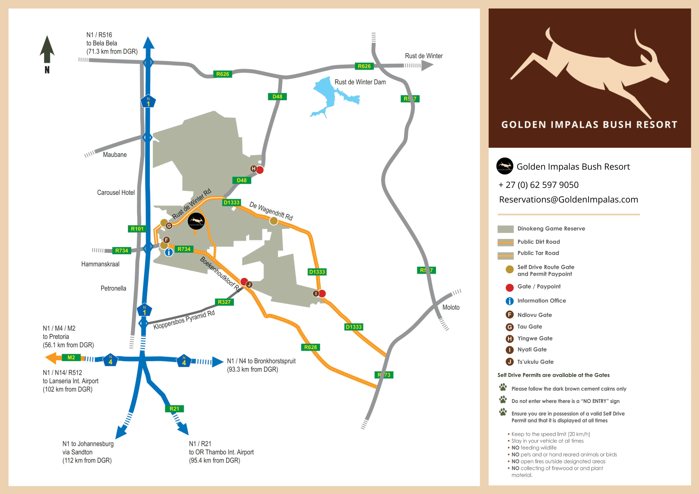 Dinokeng Game Reserve Map